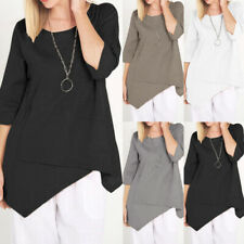 Womens Summer 3/4 Sleeve Asymmetric Blouse Casual Loose Pullover Tops T Shirt