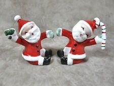 Vintage 1957 Christmas Santa Candle Climbers Napco Huggers