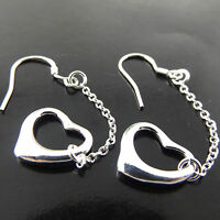 EARRINGS HOOK DROP GENUINE REAL 925 STERLING SILVER S/F SOLID GIRLS HEART DESIGN