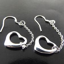 EARRINGS HOOK DROP GENUINE REAL 925 STERLING SILVER S/F SOLID GIRLS HEART DESIGN