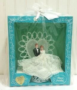 Vintage Wedding Cake Topper Hand Painted & Lace New in Box Deadstock Bride Groom
