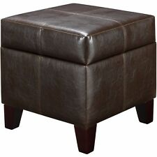 Small Storage Ottoman Brown Faux Leather Contemporary Square Seat