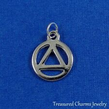 Silver RECOVERY SYMBOL AAA Addiction CHARM PENDANT