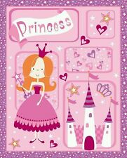 NEW Fabric Panel Pink Princess Castle Kids Cot Cotton Material Quilting