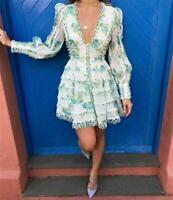 Womens A Line Skirt Dress Flounce Short Dress Deep V-neck Long Sleeve Mini Dress