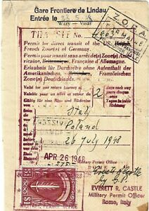 1948 AMG Passport Page with Large $1 stamp issued Rome - for 2 days time MTPS