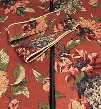 Croscill Serena Red Floral Pole Top Window Curtain Lined Panels Set of 4