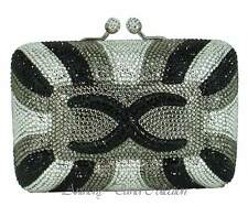 Anthony David Black Silver Pewter Gray Crystal Evening Bag w/ Swarovski Crystals