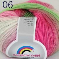 Sale Soft Cashmere Wool Colorful Rainbow Wrap Shawl DIY Hand Knit Yarn 50gr 06