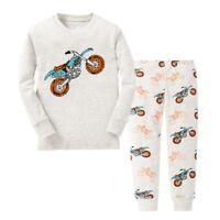 Boy Pajamas Suit Motor Racing Sleepwear Kid Clothes Long Sleeve Shirt Pants