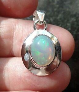 Genuine Ethiopian Opal & Sterling Silver Pendant October Birthstone 3.6g
