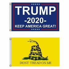 2 PACK 3x5 Gadsden DONT TREAD ON ME + Trump 2020 Keep America Great Flag Flags
