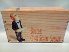 "Vintage 9"" Butler Figure Cork Screw Holder Nib Collectible"