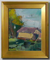 JOSE TRUJILLO FRAMED Oil Painting Modern Impressionist TREES HOUSE PASTORAL COA