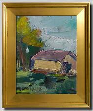 JOSE TRUJILLO FRAMED Oil Painting Modern Impressionist TREES HOUSE PASTORAL COA