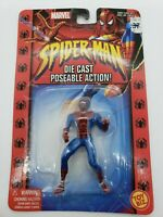 "NIB 2002 MARVL SPIDERMAN 2.5""  DIE CAST POSEABLE ACTION FIGURE TOY BIZ RED BLUE"