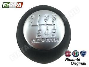 GEAR STICK SHIFT KNOB Black Leather 55346865 Fiat ABARTH 6 Speed New Original
