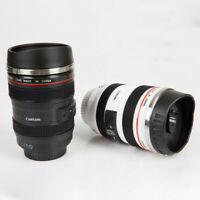 Camera Lens cup Stainless Steel Thermos bottle Travel coffee tea Mug Cup New