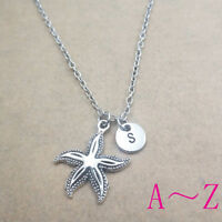 Starfish ocean charm Initial Letter Necklace stamped monogram chain pendants