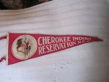 Vintage Cherokee Indian Reservation Pennant NC Native Indian Chief felt 26 1/2""