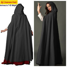 Adult Black Cape Cloak Robe Hooded Halloween Vampire Witch Wizard 140cm Express
