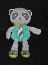 Peluche doudou panda koala OBAIBI OKAIDI gris bleu cravate grelot 24 cm NEUF