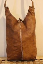 Recycled Handmade natural Leather durable shoulder bag / brown