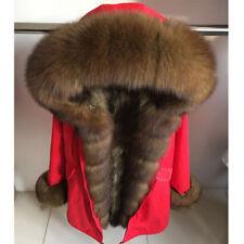 Women Natural Real Fox Raccoon Lamb Fur Parka Coat Hooded Jacket Liner Overcoat