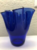 "Hand Blown Fluted Rim 7.25"" Tall Cobalt Glass Vase"