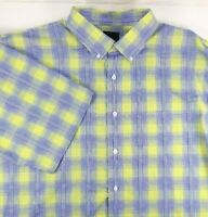 F/X Fusion Mens Short Sleeve Shirt Size 3XLT Blue White Lime Plaid Cotton Blend