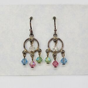 AB Swarovski Crystal & 925 Sterling silver Dangle Earrings