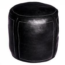 Pouf Oriental en cuir Tabouret travail manuel oreillers DE SOL RONDA noir M/N