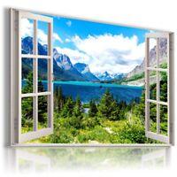PARADISE BEACH SEA HOLIDAY PALMS 3D Window View Canvas Wall Art  W493  MATAGA .