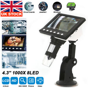 """4.3"""" 1000X Microscope HD LCD Monitor Electronic Digital Video 8 LED Magnifier"""
