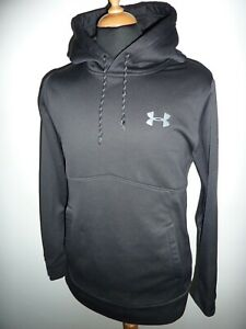 Mens Under Armour Rival Hoodie Hoody Hooded Sweater Top Black Pullover Small