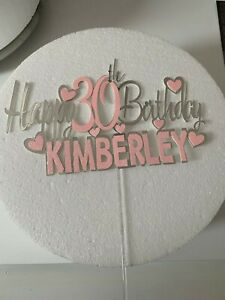 SILVER CARD NON EDIBLE PERSONLISED CAKE TOPPER HAPPY BIRTHDAY SIGN