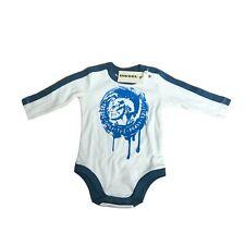 Diesel Baby Toddler Boys White Blue Long Sleeve Designer Baby Grow 3-24 Months