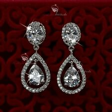18k white gold gf made with SWAROVSKI crystal tear drop stud earrings classic