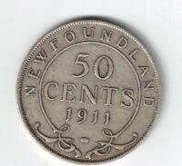 NEWFOUNDLAND 1911 50 CENTS HALF DOLLAR KING GEORGE V STERLING SILVER COIN