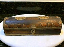Vintage Antique Collectible Handcrafted Wooden Pen Box for Desk OLD Wood & Brass