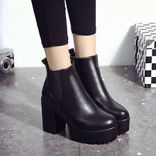 Punk Women Leather Ankle Boots Chelsea Chunky Platform Hidden Heel Combat Shoes