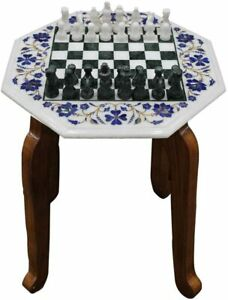 """20"""" White Marble Coffee Table Lapis Marquetry Floral Inlay Decor With Stand W465"""