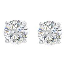 Ags Certificada 1/4ct Diamante redondo peso total Brincos Ponto De Luz Em Ouro Branco 14K