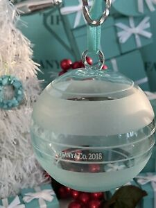 Tiffany&Co Crystal Blue Glass Ball Ornament 2018 Clear Frosted Glass W Box