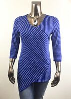 CHICO'S *NEW SIZE 2. (L) BLUE-WHITE CROSS-STRIPE  3/4-SLV TUNIC $85
