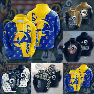 Los Angeles Rams Hoodies Football Hooded Sweatshirt Men's Casual Jacket Pullover