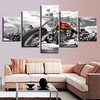Classic Harley Davidson Motorcycle 5 Panel Canvas Print Wall Art Home Decor