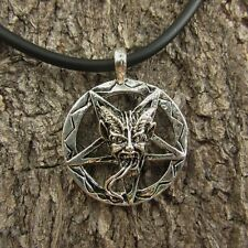 E40 BAPHOMET INVERTED PENTAGRAM PEWTER WOMEN DEMON PENDANT SATAN NECKLACE DEVIL