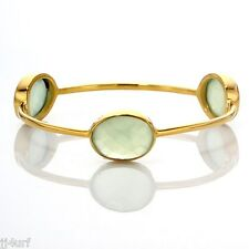 Green Quartz Orbit Bangle Bracelet, 21.1 TCW, 18K Over Solid Sterling Silver