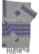 "White Gabrieli Silk Tallit Blue &Silver Stripes 20""x80"""